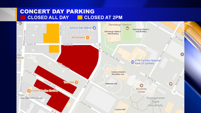 Youngstown State University Campus Map.Youngstown State Prepares For Parking Challenges During Big Concert